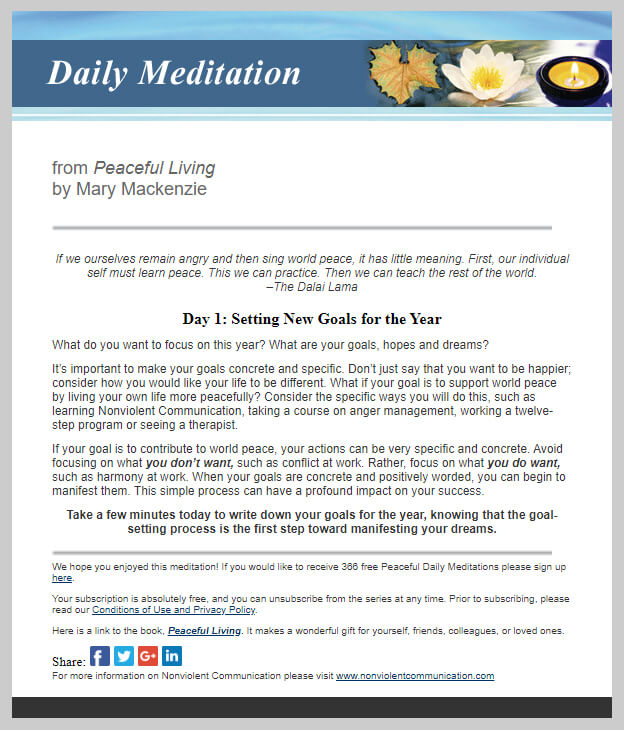 366 Daily Peaceful Living Meditations Sample Email