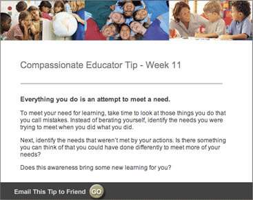 Compassionate Educator Weekly NVC Tip Sample Email