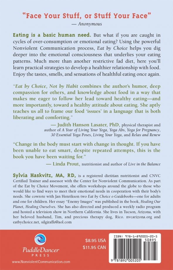 Eat by Choice Not by Habit back cover
