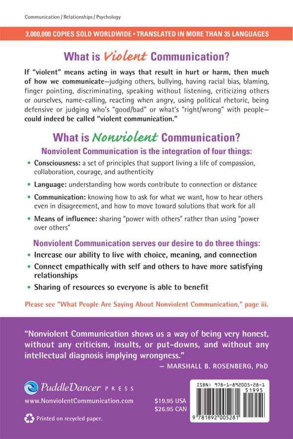 Nonviolent-Communication A Language of Life back cover